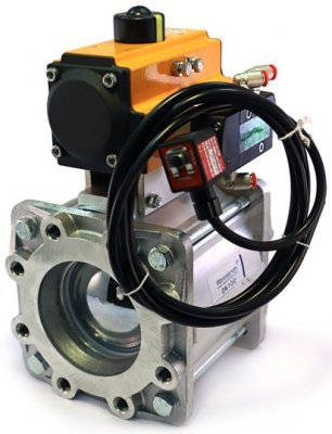 Stop valve DN100 with special pneumatic output for FlowCheck